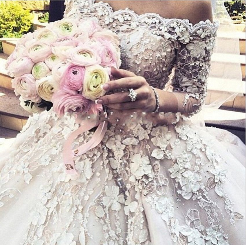 Lovely Luxury Cathedral Royal Train Ball Gown Wedding Dress Vintage Long Sleeve Sexy Wedding Gowns Bridal
