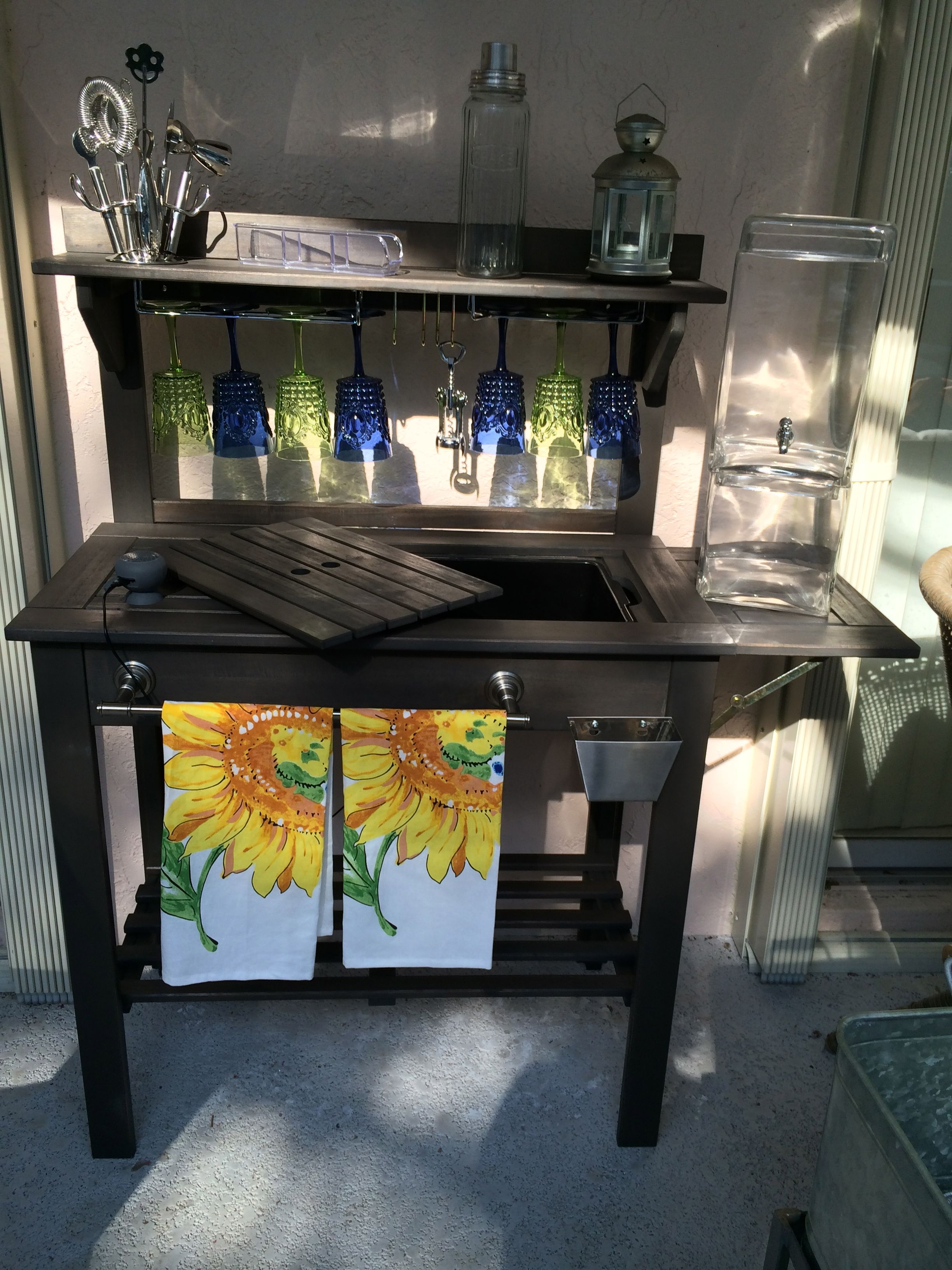 Others Bed Bath And Beyond Bathroom Scales For Use In The: World Market Potting Bench Turned Bar. Added Towel Bar