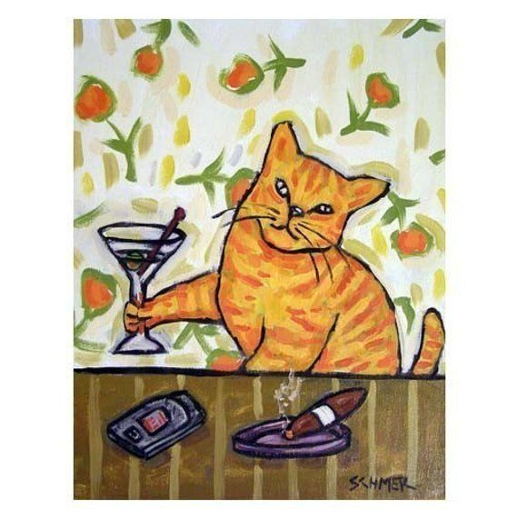 OCICAT cat wine  art PRINT 8x10 impressionism animals reproduction new