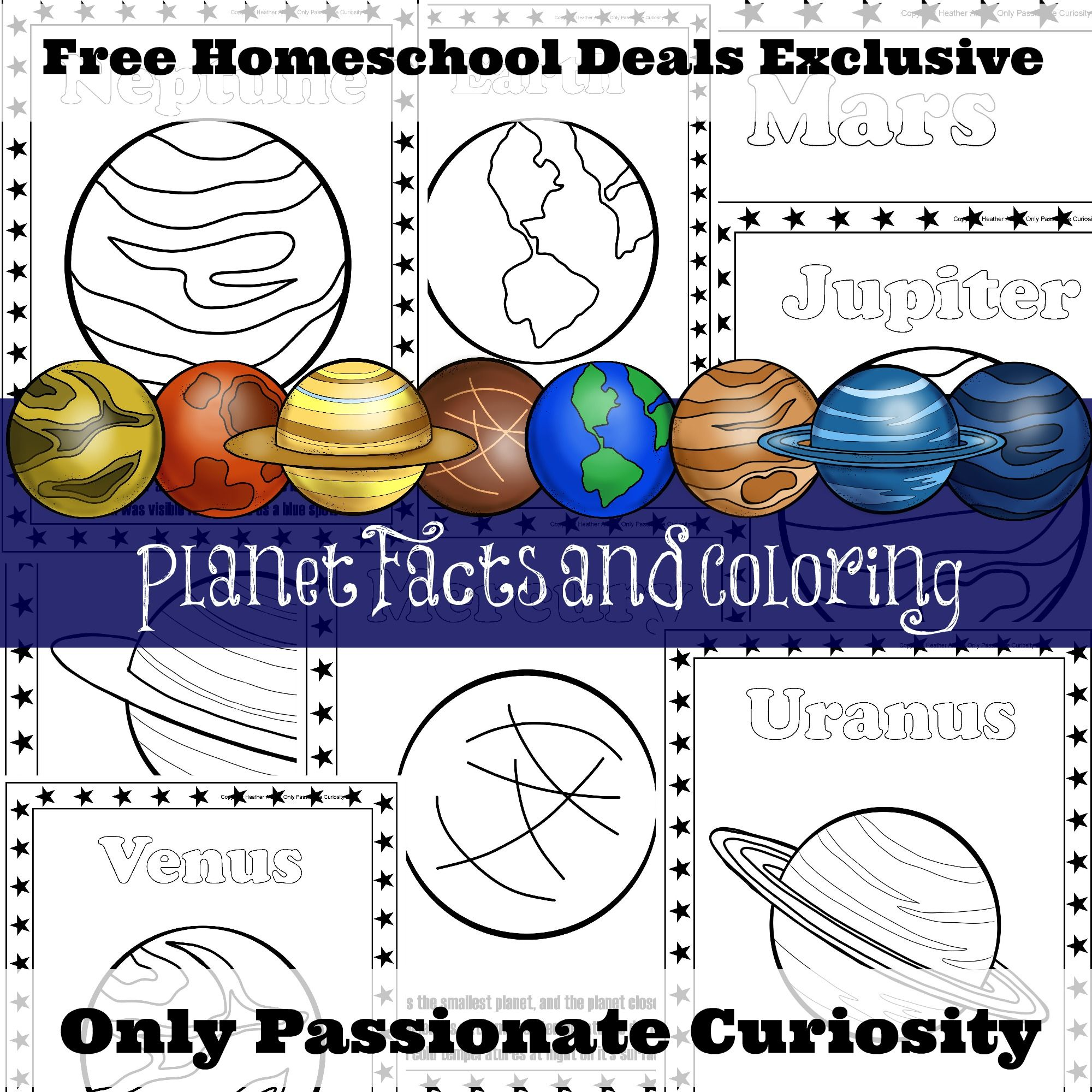 FREE PLANET FACTS AND COLORING PAGES instant