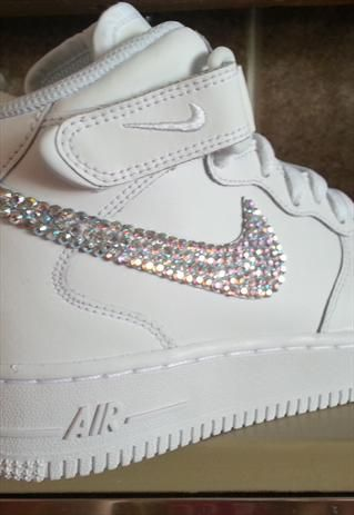 great prices new arrivals best website Nike Air Force 1 Mid Trainers Diamante crystals personalised ...