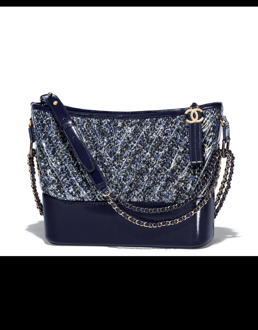 8a68d88b0fa9 CHANEL s GABRIELLE hobo bag, tweed, pvc, patent calfskin, silver-tone    gold-tone metal-navy blue, black   white - CHANEL