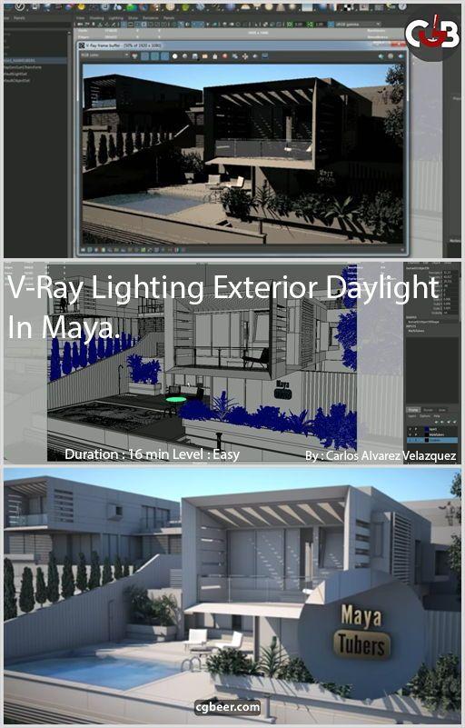 v ray lighting exterior daylight in maya maya 3d and 3d modeling