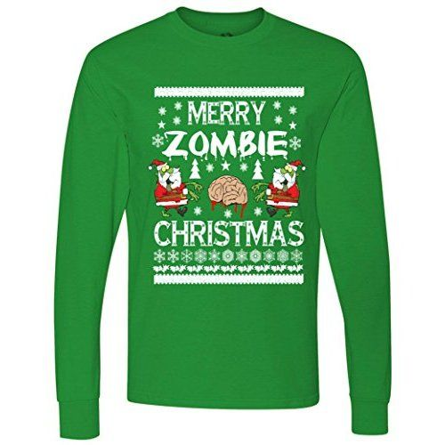 Zombie Christmas Sweater.Merry Zombie Ugly Christmas Sweater Long Sleeve T Shirt