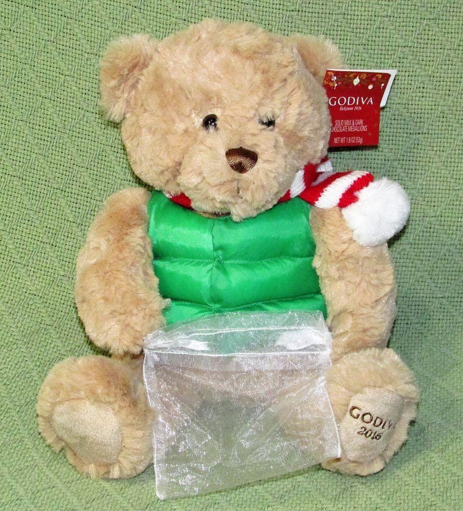 godiva christmas teddy bear 2016 plush tan green parka vest with gift sac tag