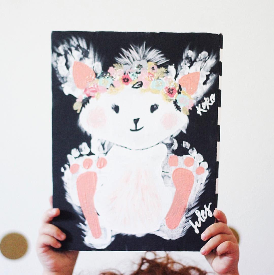 Boho Bunny Easter Craft Ears Handprints Feet Baby