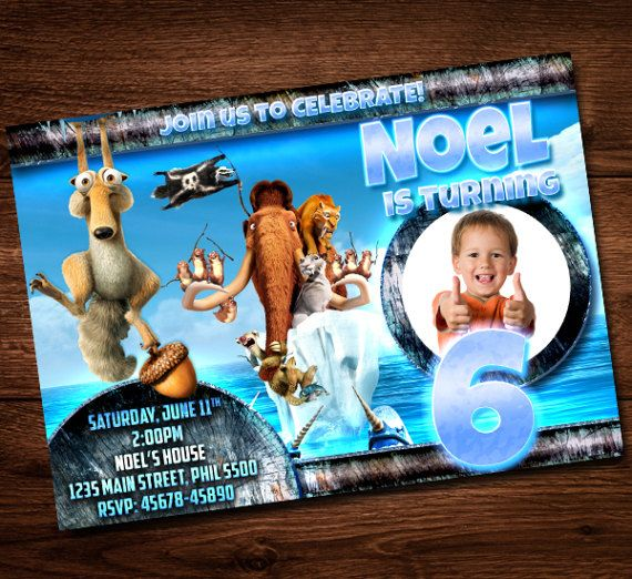 Ice Age Birthday Invitation Card For Kids Party
