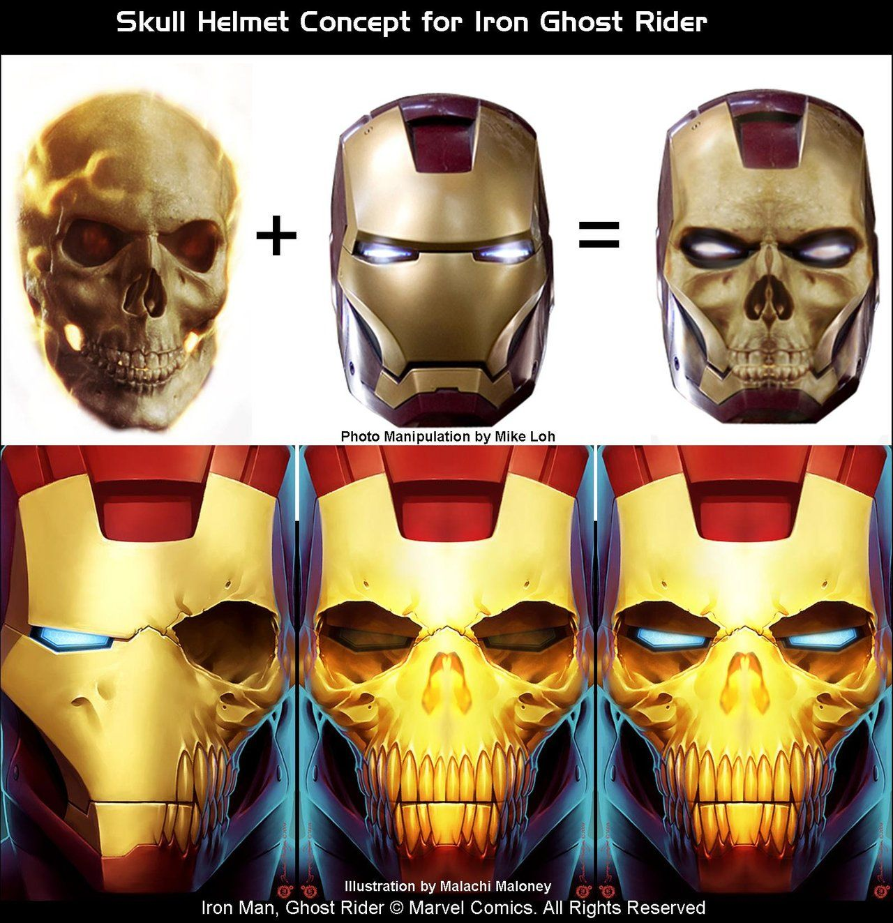 Iron Man Meets Ghost Rider concept art | Masks | Pinterest | Ghost ...