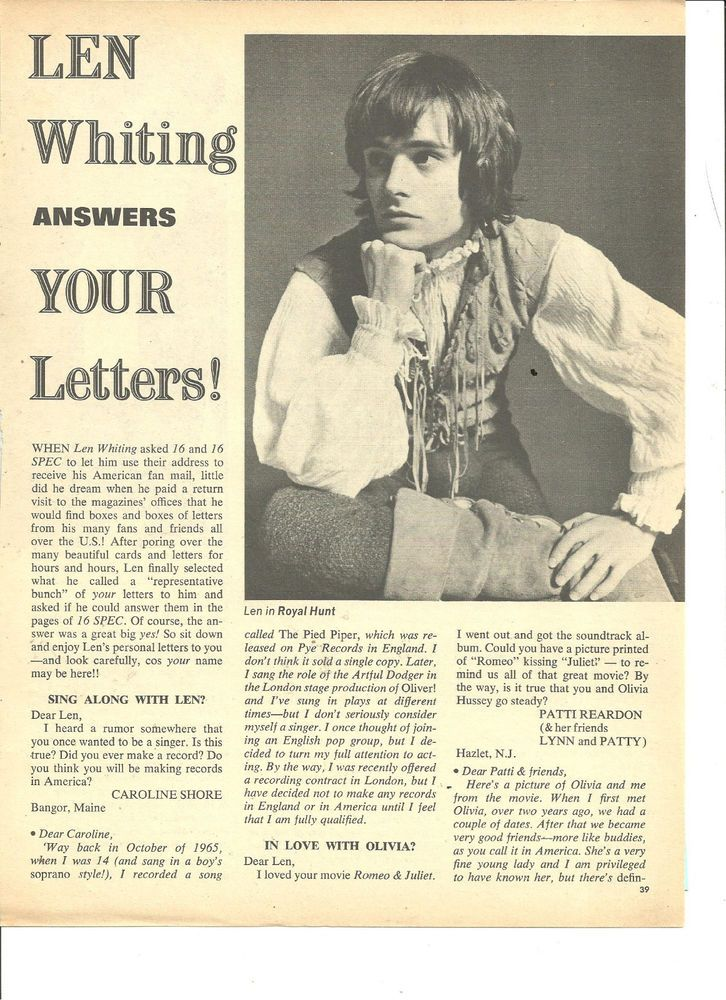 Len Whiting, Full Page Vintage Pinup Clipping