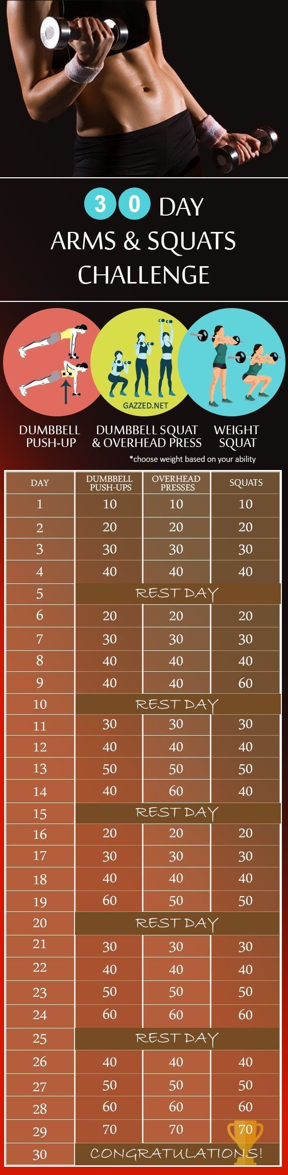 30 Day Weapon and Squat Challenge - Push-up Dumbbells, Squats and Overhead Press - Gazzed 30 Day We