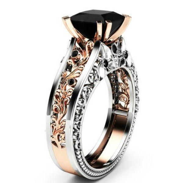 Princess Black Diamond Engagement Ring 14k Rose Gold And 925