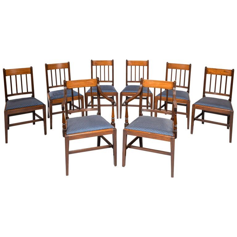 Set of Eight George III Period Mahogany Dining Chairs images