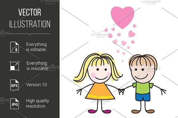 Boy and girl with hearts. Wedding Card Templates