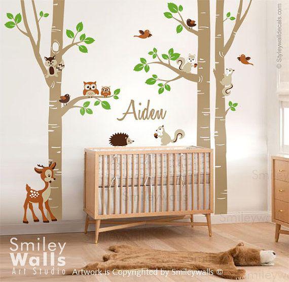 Birke bäume und tiere wall decal wald tiere bäume von smileywalls