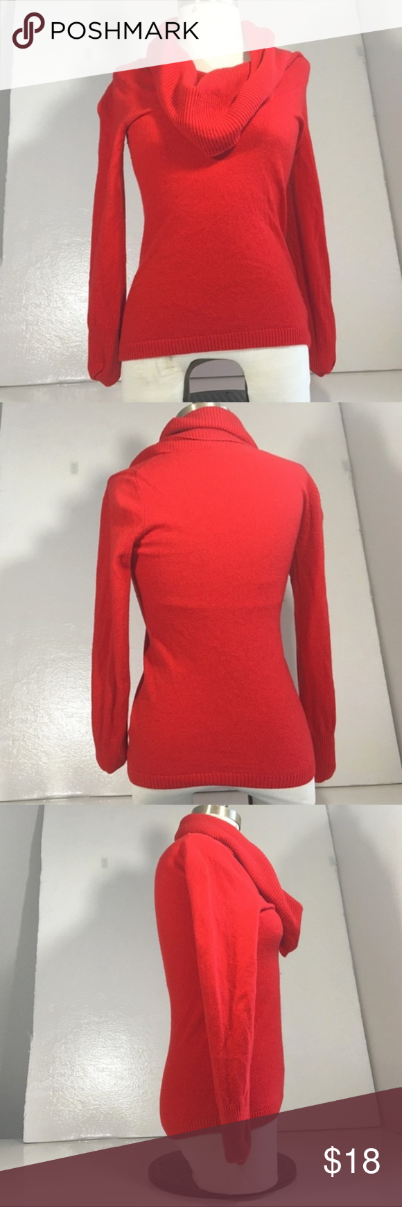 Banana Republic Red Textured Cowl Neck Sweater XS | Arm pits, Cowl ...