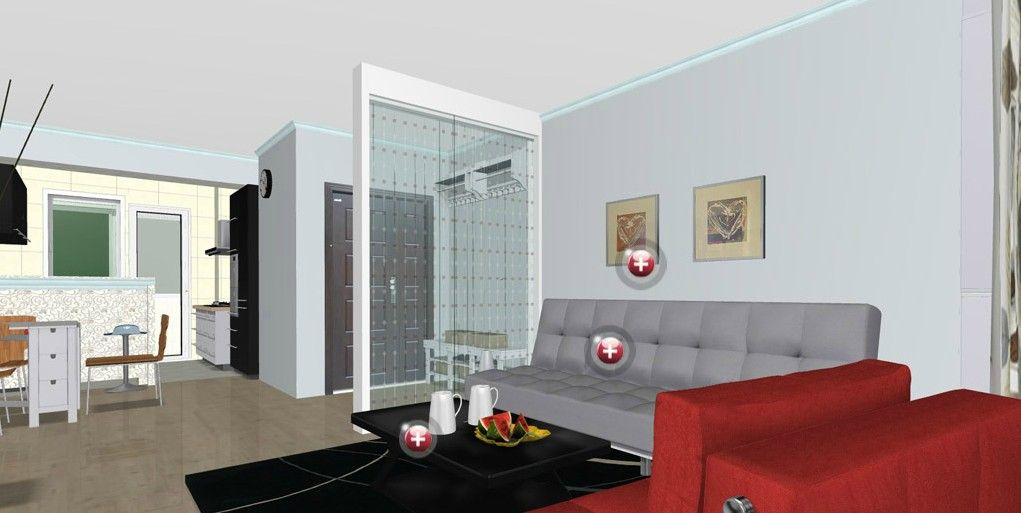 Modern Minimalist Living Room Interior Design With Grey And Red Sofa ...