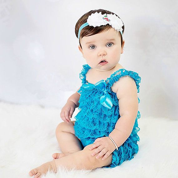 >> Click to Buy << Cute Baby Turquoise Lace Romper Infant Toddler Petti Ruffled Strap Rompers One-Piece with Flower Headband Set Newborn Jumpsuit #Affiliate