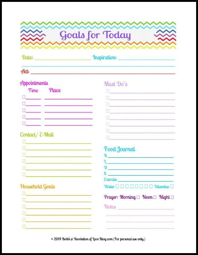 revolution of love blog daily goals sheet planner daily 4ed