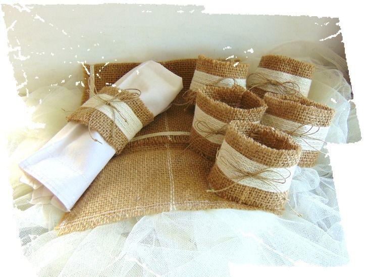 Ronds de serviette en toile de jute avec pochette de rangement cuisine et service de table par - Serviette de table mariage ...