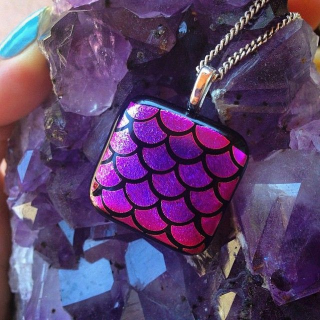 Corinne Winters | via @corinnewinters on Instagram| Fused Glass Dichro Magenta mermaid pendant.