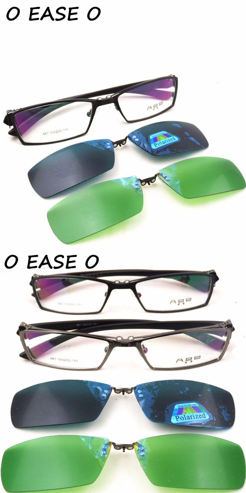 90cf9b019b 2016 Titanium Alloy Myopia Presbyopia Optical Frame With clip-on sets  Polarized Day Night Vision
