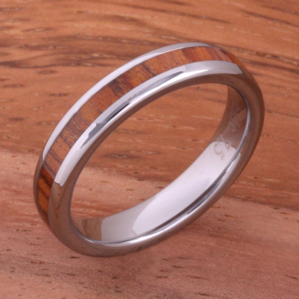 Mm natural hawaiian koa wood inlaid tungsten oval wedding ring