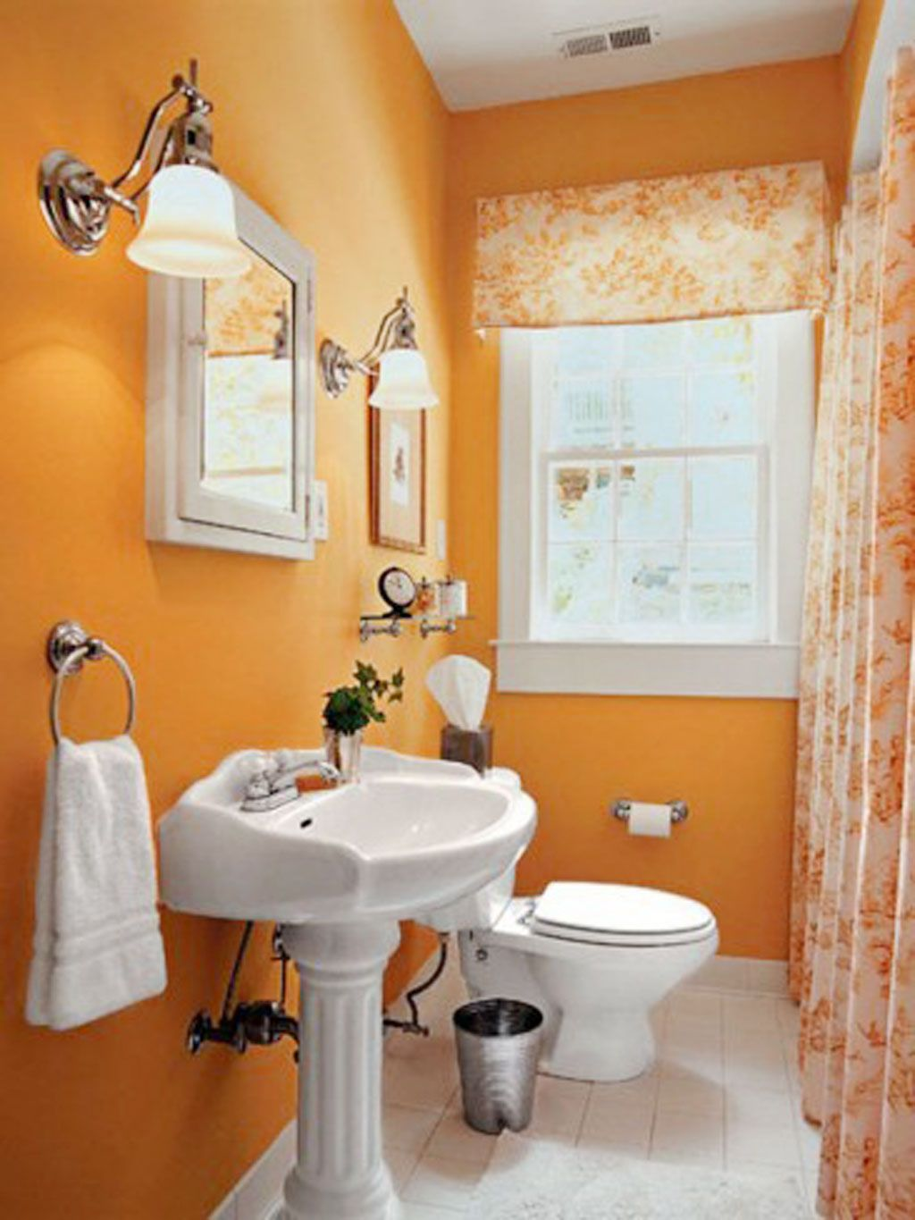 Colorful bathroom decoration - Orange Bathroom Decorating Ideas Interior Design The Color Orange Is A Bright Color With A Pleasant And Cheerful Character The Color Orange Makes The