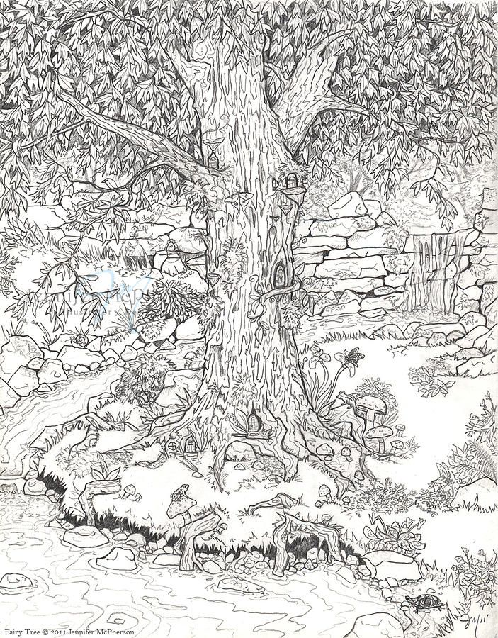 Fairy Tree By Jennifer Mcpherson Garden Coloring Pages Adult