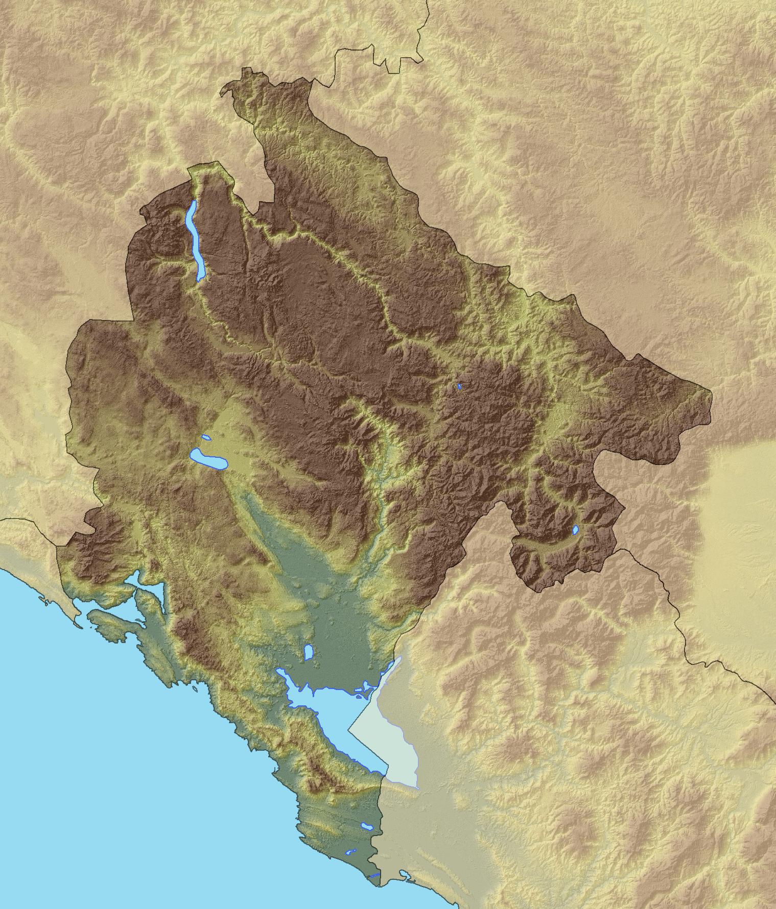 Louisiana Map Alexandria%0A Relief map of Montenegro