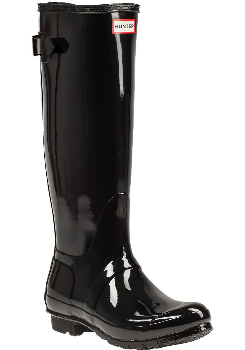 Hunter | Black Original Back Glossy Rubber Rain Boots | Lyst