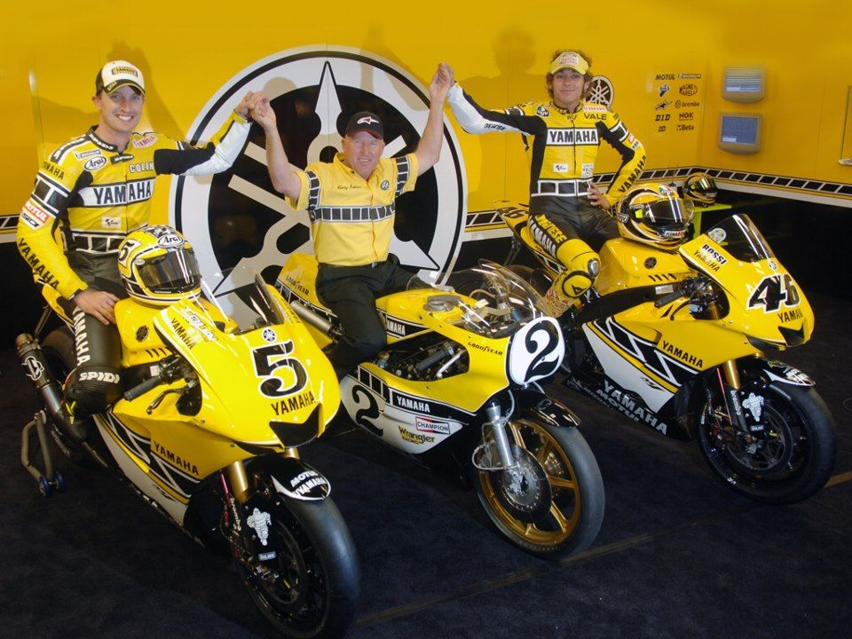 Kenny Roberts flanked by Colin Edwards and Valentino Rossi, with a special Retro Yamaha livery, in honor of the Roberts days.