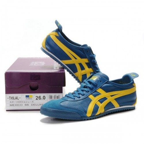 2012 Asics Onitsuka Tiger NIPPON MADE Lambskin Mens Shoes Blue Yellow