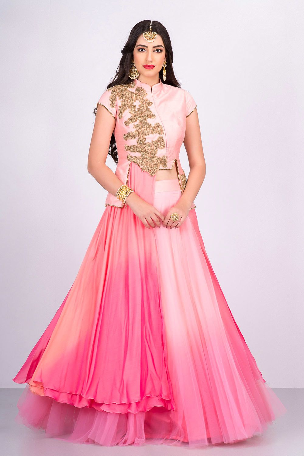 a44c963b19 NIYOOSH peach and pink shaded jacket style lehenga Indowestern Lehenga,  Anarkali Lehenga, Engagement Dress