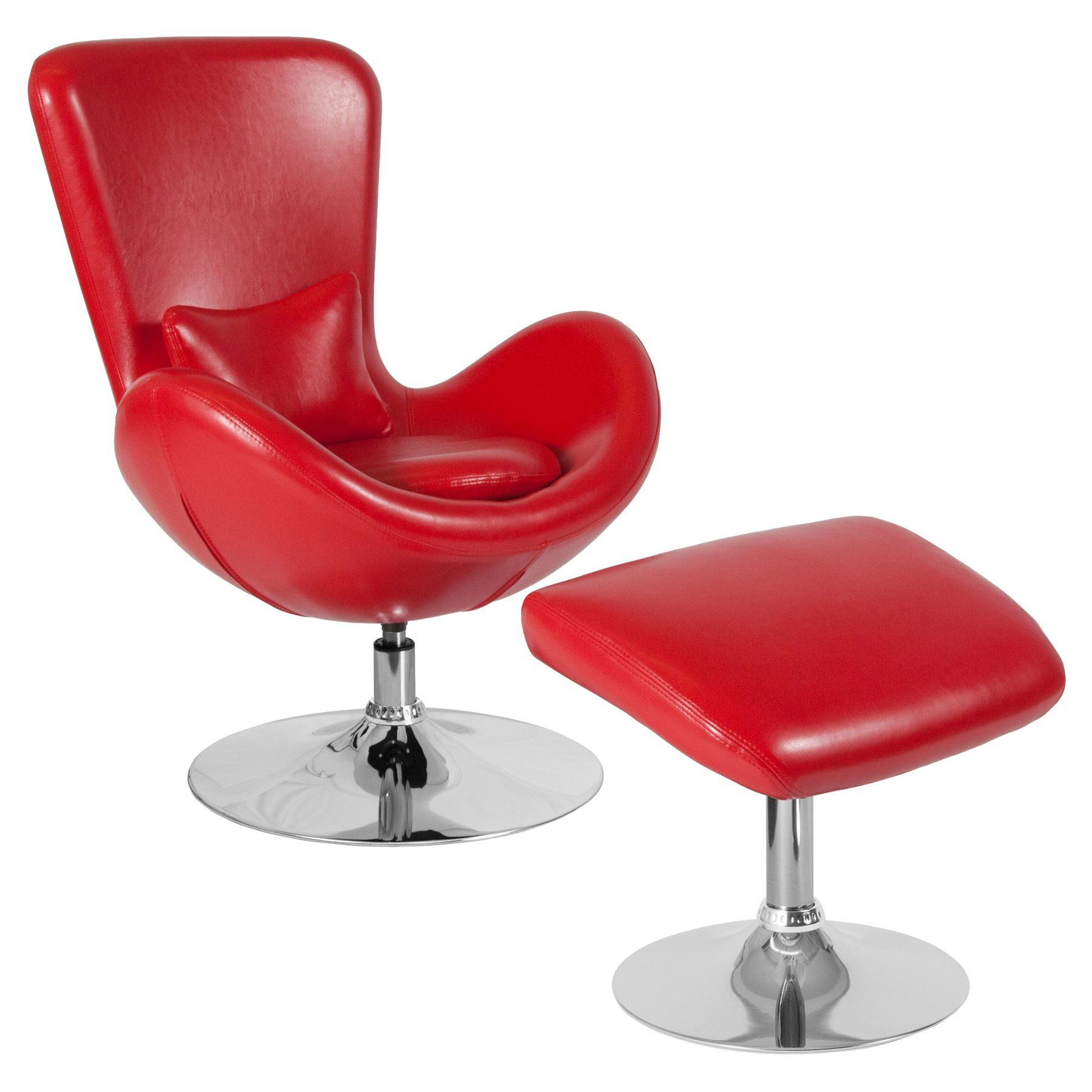 Flash Furniture Egg Series Leather Accent Chair With Ottoman Red