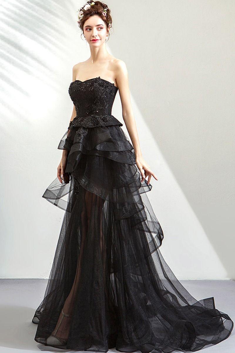 Asymmetrical Ruffled Black Prom Dress In 2021 Dresses Prom Dresses Ruffle Prom Dress [ 1200 x 800 Pixel ]