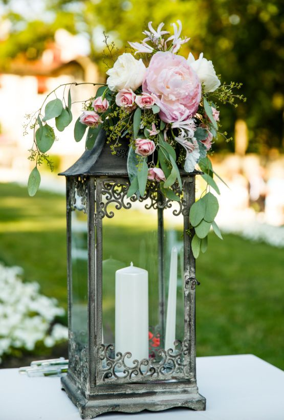 Flower Topped Lantern Wedding Reception Centepiece #weddingreception