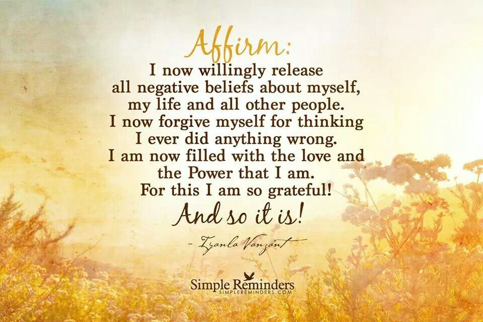 Affirm willingly release all negativity
