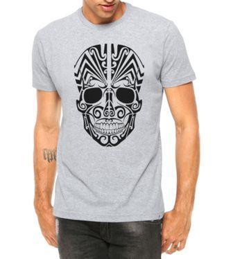 Camiseta Criativa Urbana Caveira Mexicana Tribal Cinza Mescla Manga Curta 024038faedc9c
