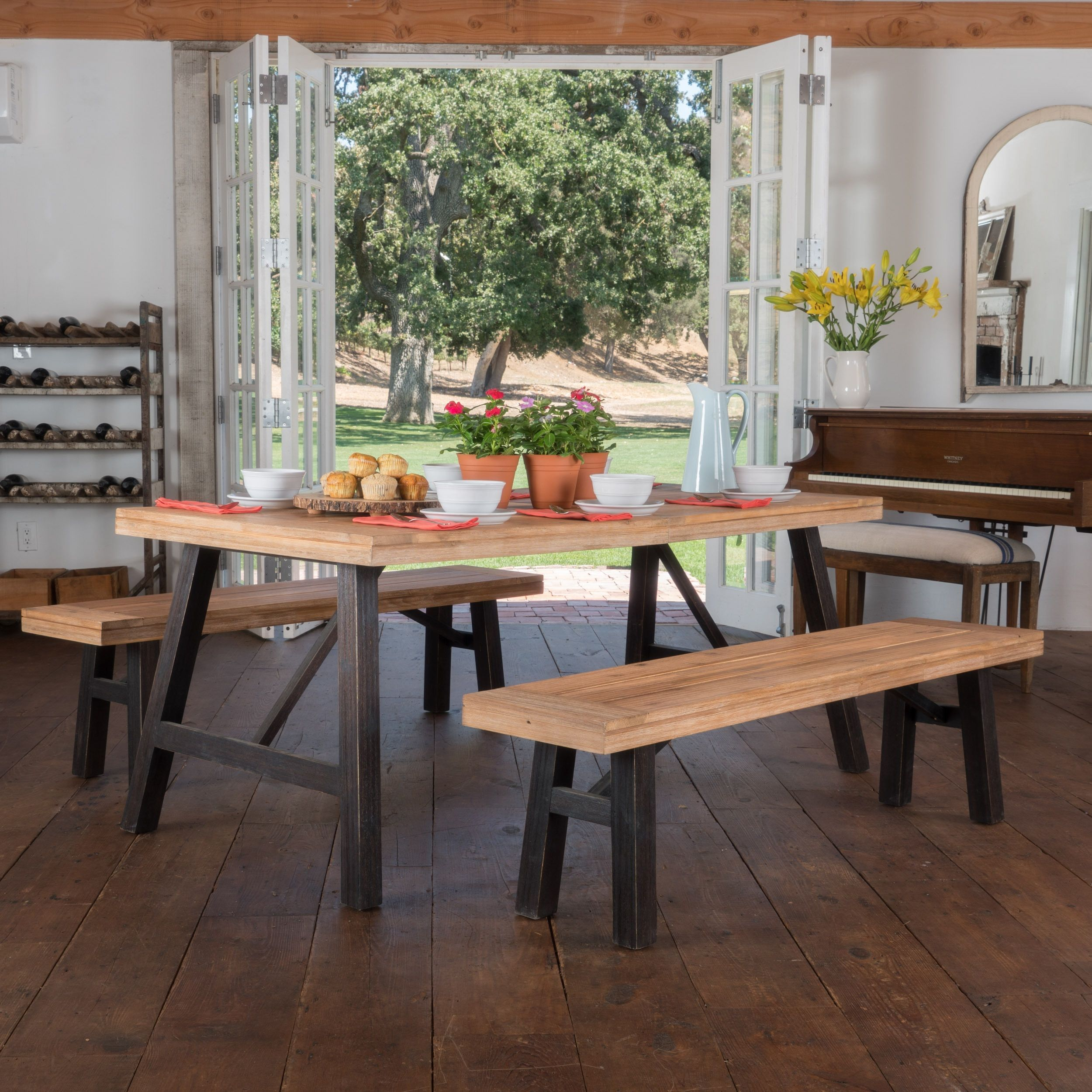 Cottage 3 Piece Acacia Wood Picnic Dining Set By Christopher Knight
