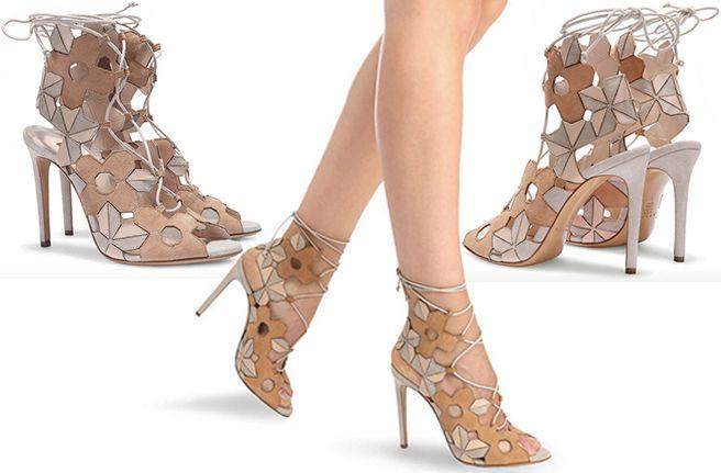 59c112ae8de Casadei 70s Floral Cutout Suede Lace-Up Sandals - Buy Online ...