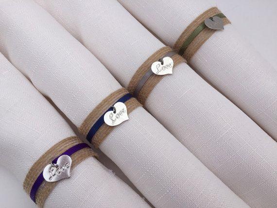 Wedding Napkin Rings: Wedding Table Decor, Love Charm Napkin Rings, Natural Jute Napkin Holder