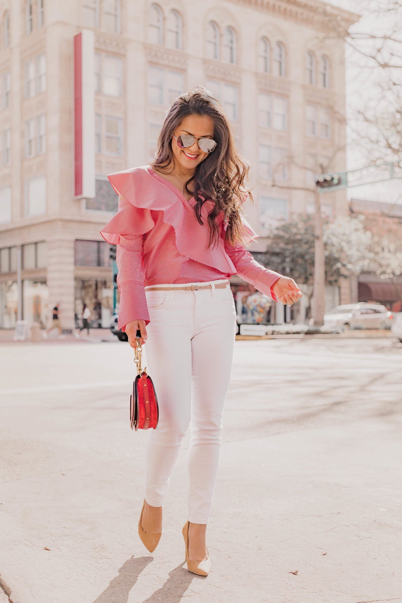 71234d0f3e9 Spring Ruffles + White Jeans on Jetting Jewels! Outfit Details: Gingham  Ruffle Top   White Jeans   Nude Pumps   Silver Aviators   Chloe Nile Bag