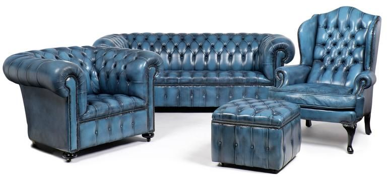 Blue Chesterfield Sofa in 2019 | White dining chairs ...