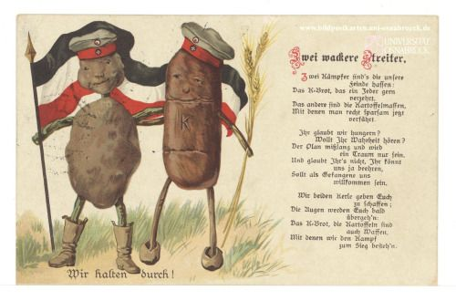 "WWI""Two Valiant Fighters"" - German Postcard About the Substitude Foods Following the British Blockade - Germany, 1917.    ""It's two fighters that our enemies hate:  The war-bread that everyone gladly eats The other are the masses of potato"""