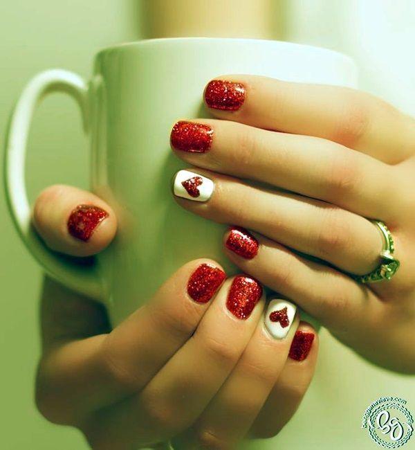 55 Cute Valentine Nail Art Designs to Wear your Feelings | Pinterest ...