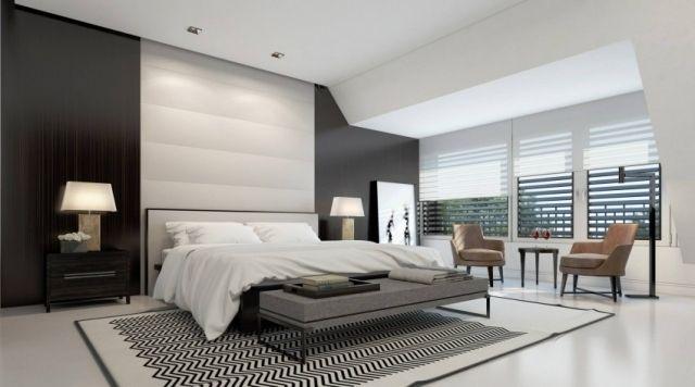 schlafzimmer schwarz weiß modern wandgestaltung | Wohnen Und ...