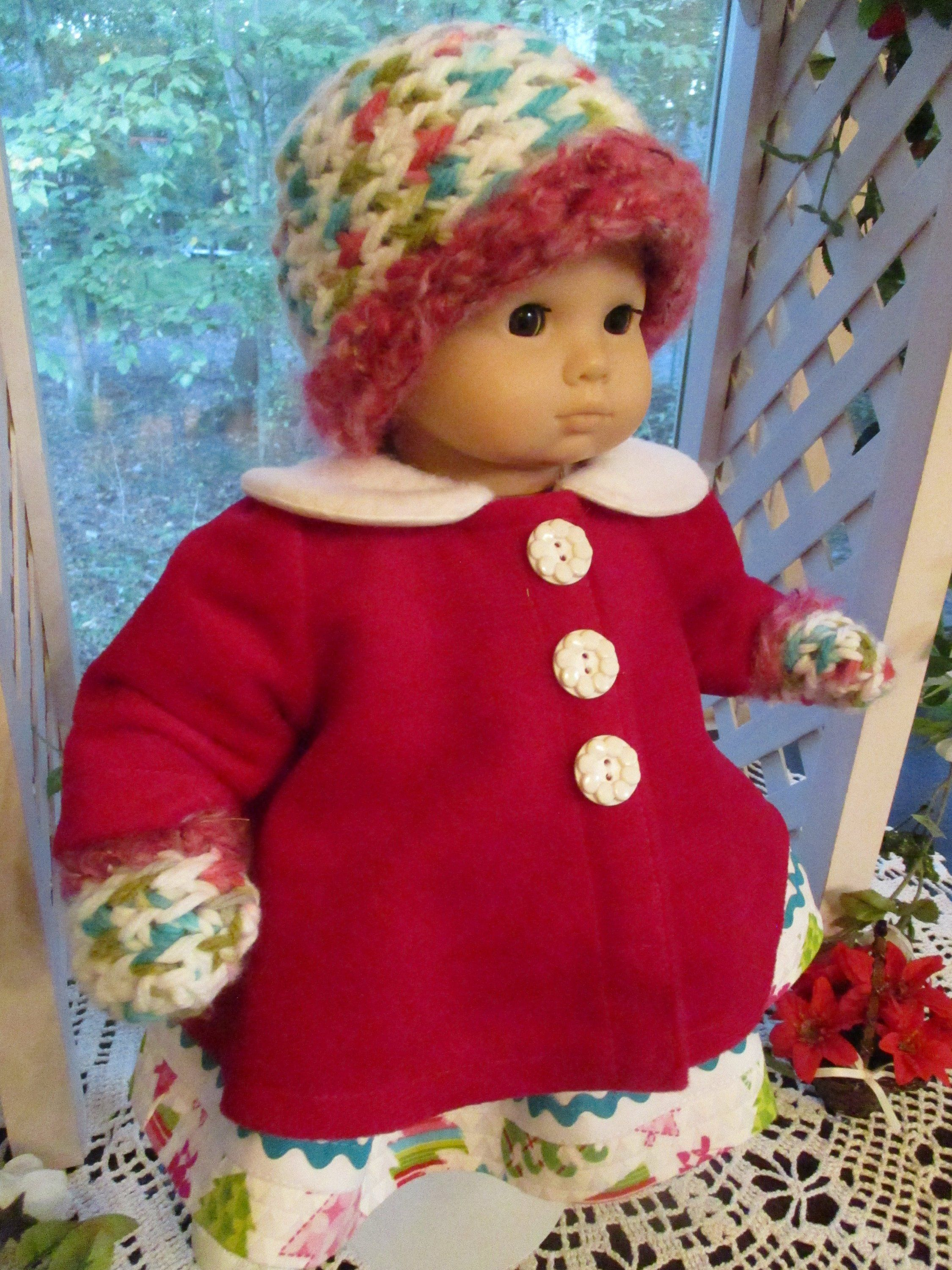 4773c1fd8 Pink Baby Doll Coat with Doll Hat and Mittens to fit your 15