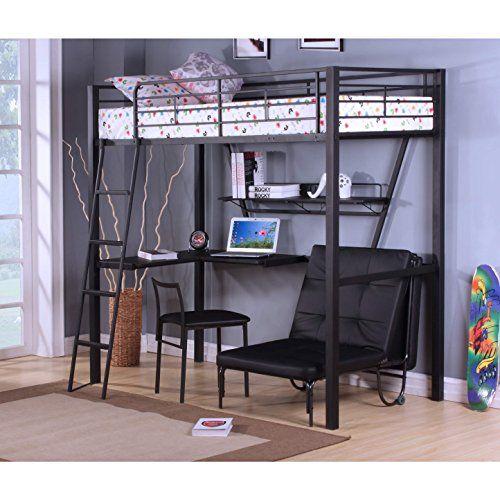 Best Acme Furniture 37275 Senon Loft Bed With Desk Silver B 640 x 480