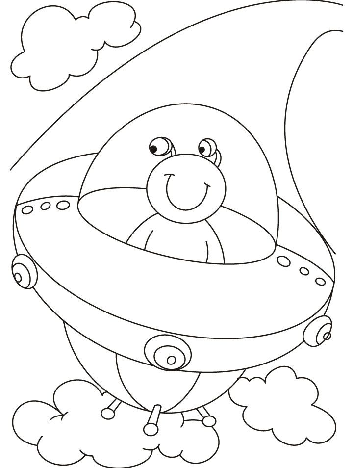 Alien in his space ship ufo coloring pages its world ufo day pinterest space ship and ufo