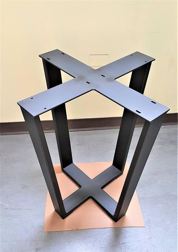 Base De Table Trapeze Industrielle Pour Carre Ou De La Table Wooden Dining Table Designs Metal Table Base Diy Table Top